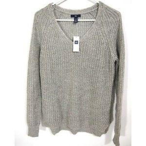NWT Gap Sweater V-Neck Oversized Tunic Slit Wool